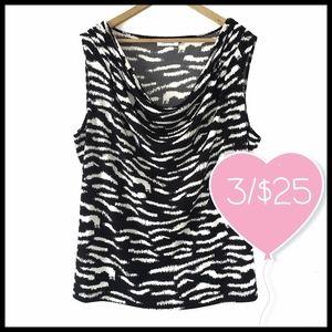 ⭐3/$25⭐ Calvin Klein Zebra Print Cowl Neck Blouse